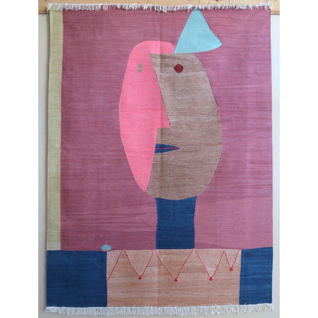 Paul Klee - Clown - Inspired Silk Hand Woven Area - Wall Rug 4′4″ × 5′10″ For Sale - Image 10 of 11