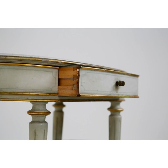 Pair of French Style White Bedside Tables in Wood and Orange Gilt Glass. 1940s For Sale - Image 6 of 12