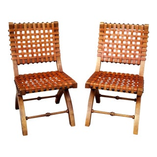 Vintage Woven Leather Safari Style Dining Chairs - Set of 2 For Sale