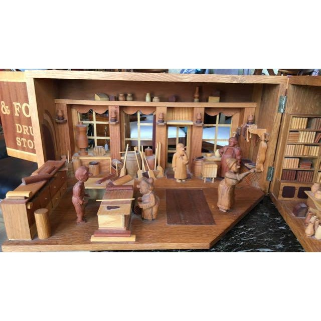 Hand Carved Wood With Marquetry General Store Model Diorama For Sale - Image 5 of 11