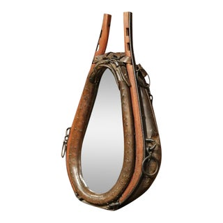 19th Century French Leather Horse Collar Made Into Mirror For Sale