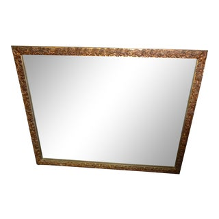 Old Vintage French Provincial Gold Floral Rectangle Wall Mantle Mirror For Sale
