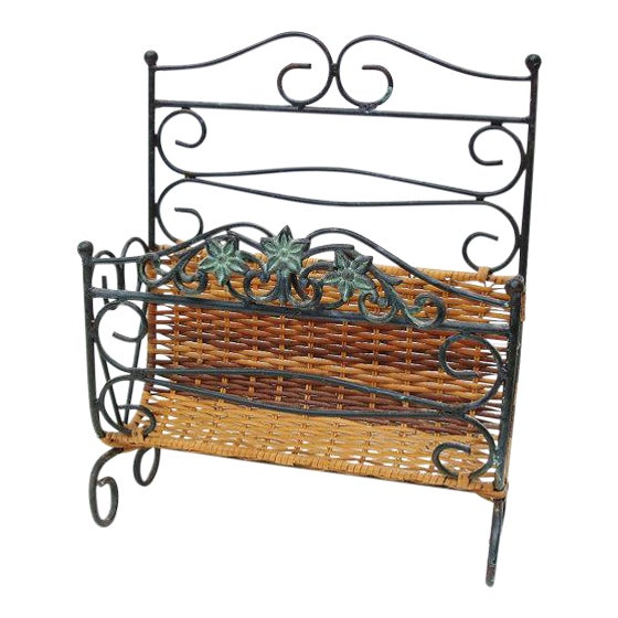 Wrought Iron & Rattan Magazine Basket For Sale