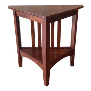 Ethan Allen New Impressions Solid Cherry Triangle Corner Side Table