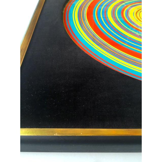 "Blue "" Tadasky "" Tadasuke Kuwayama Rare Vintage 1968 Mid Century Modern Framed Op Art Lithograph Print "" Whirling Circles "" For Sale - Image 8 of 13"