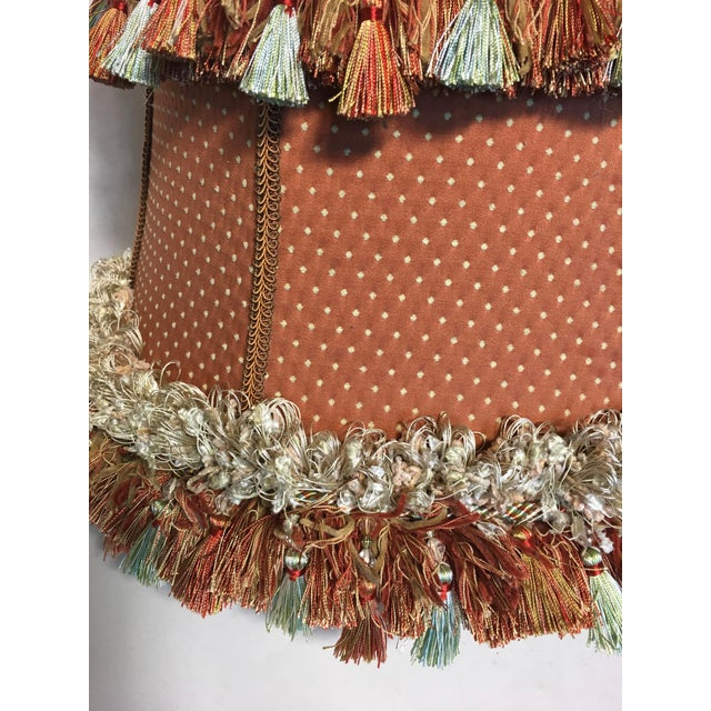 Custom Coral Silk Lampshade For Sale - Image 4 of 5