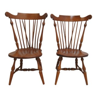 Ethan Allen Windsor Heirloom Maple Dining Chairs - a Pair