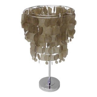 Verner Panton Style Capiz Shell Table Lamp For Sale