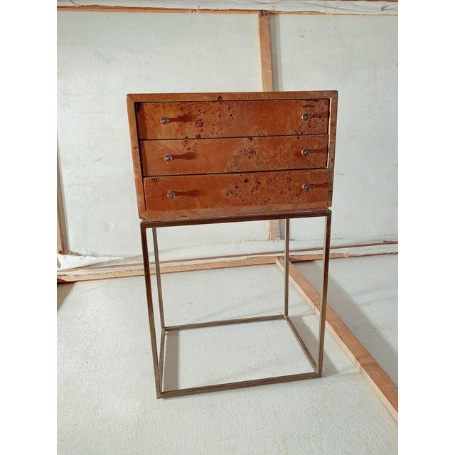 Gold 1950s Mid-Century Modern Milo Baughman Burlwood Side Table For Sale - Image 8 of 8