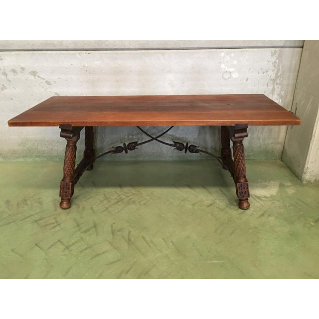 About 19th Spanish refectory desk table with solomonic legs and iron stretcher Original perfect condition Top table in...