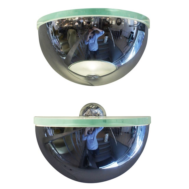 Pair of Rounded Chrome Sconces in the Style of Fontana Arte - Image 2 of 6