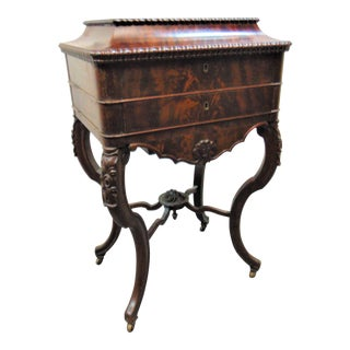 Mid 19th Century Victorian Mahogany Carved Sewing Stand For Sale