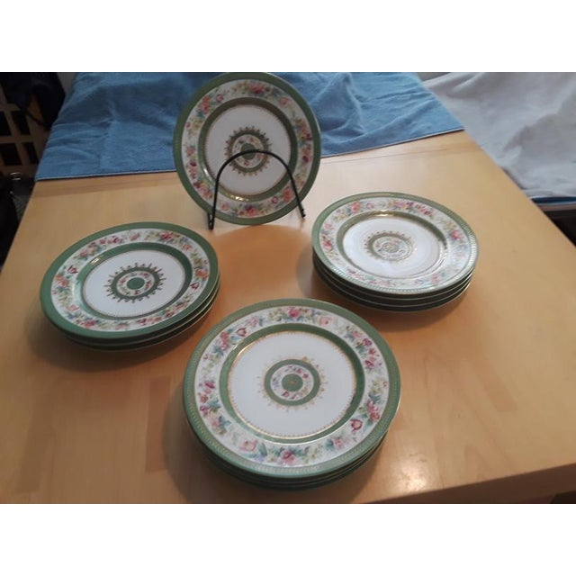 Antique C. Ahrenfeldt Limoges Dinner Plates With Hand Painted and Gilt Accents - Set of 12 For Sale - Image 12 of 13