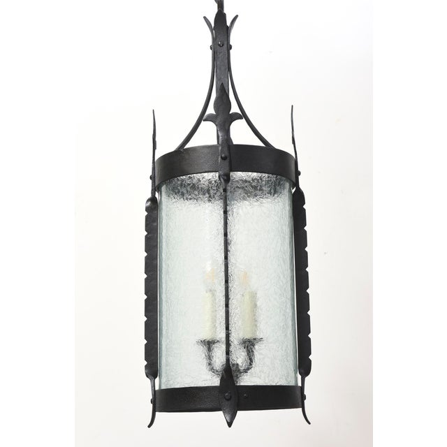 Wrought Iron Lantern with Curved Textured Glass For Sale In Boston - Image 6 of 11
