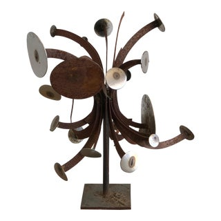 Frank Cota Brutalist Metal Table Sculpture For Sale