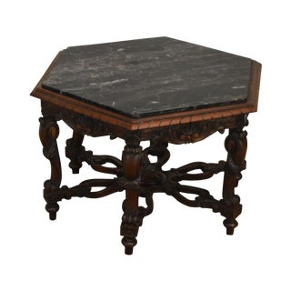 Antique Renaissance Revival Carved Walnut Hexagon Marble Top Coffee or Side Table For Sale