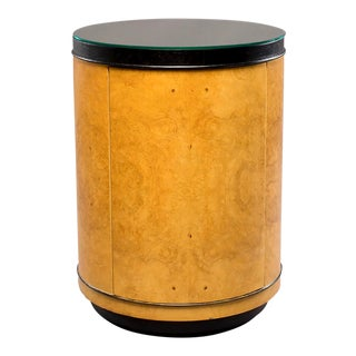 Mid-Century Henredon Olive Wood Drum Table Cabinet