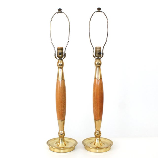 Mid-Century Modern Mid-Century Modern Teak & Brass Lamps - A Pair For Sale - Image 3 of 10