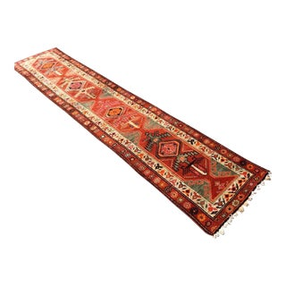 Vintage Oversized Hand Knotted Turkish Runner For Sale