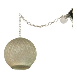 Woven Clear Lucite Hanging Pendant Lamp