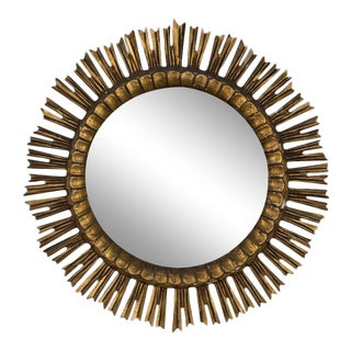 Spanish Giltwood Sunburst Mirror For Sale