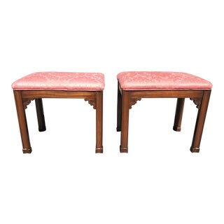 1940s Vintage Chinese Chippendale Style Benches- a Pair For Sale