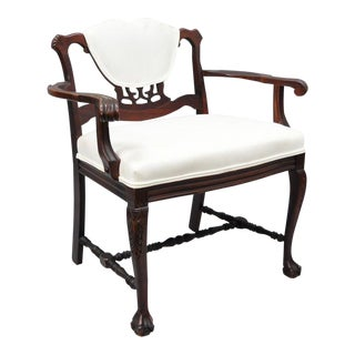 Antique Mahogany Chippendale Style Vanity Bench Seat Chair Ball & Claw Feet For Sale