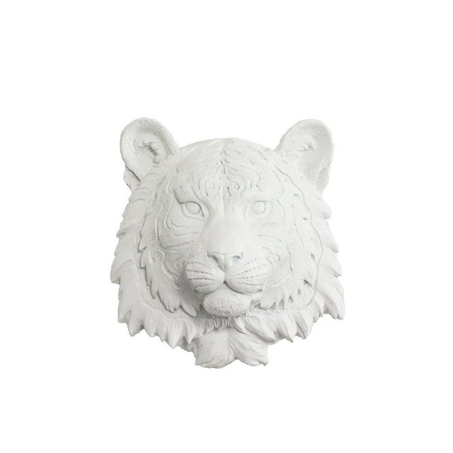 Wall Charmers White Faux Taxidermy Mini Tiger Head Wall Sculpture - Image 3 of 3