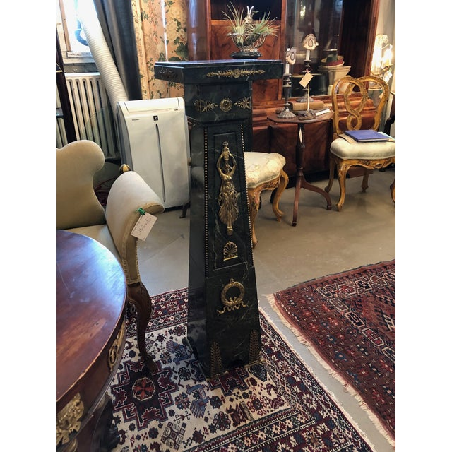 19th Century French Green Marble and Bronze Ormolu Applique Pedestal For Sale - Image 11 of 12