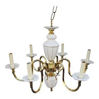 Vintage 1960s Italian Brass and Porcelain Chandelier For Sale