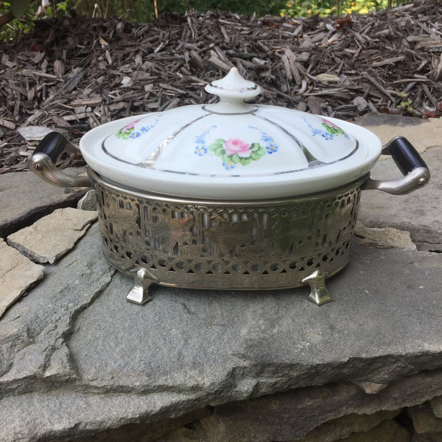Vintage Royal Rochester Tureen in Silver Caddy - Image 2 of 10
