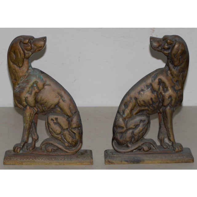 """Metal 19th Century Cast Iron """"Shorthaired Pointer"""" Andirons C.1880s - a Pair For Sale - Image 7 of 9"""