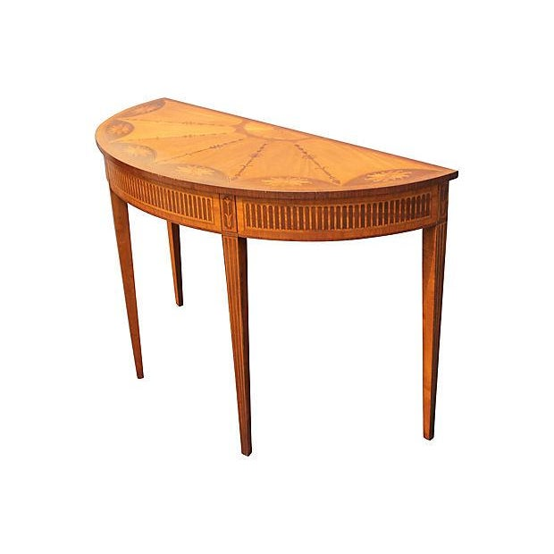 Wood Inlay Demilune Console Table - Image 7 of 9