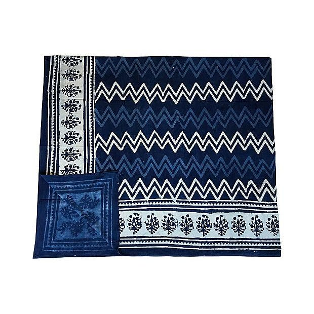 Indian Indian Indigo Hand-Dyed Shibori Throw For Sale - Image 3 of 5