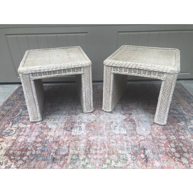 Vintage Wicker End Tables - a Pair For Sale - Image 11 of 11