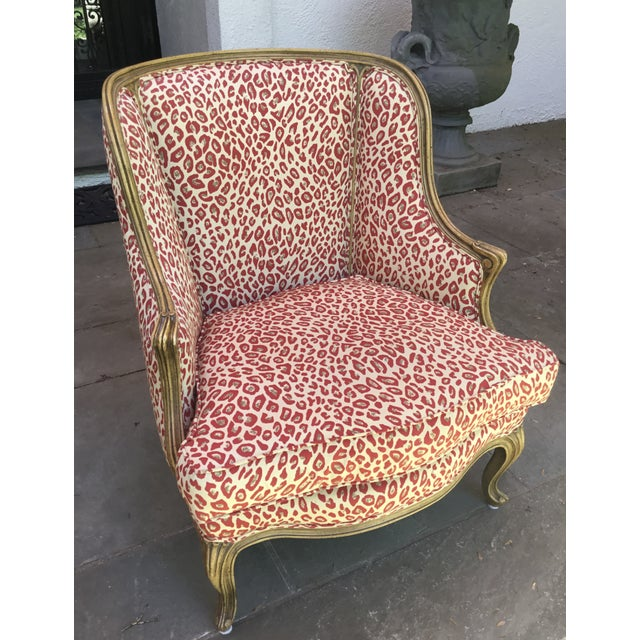 1940s Louis XV Style French Accent Chair Upholstered in Red Leopard Fabric For Sale In New York - Image 6 of 8