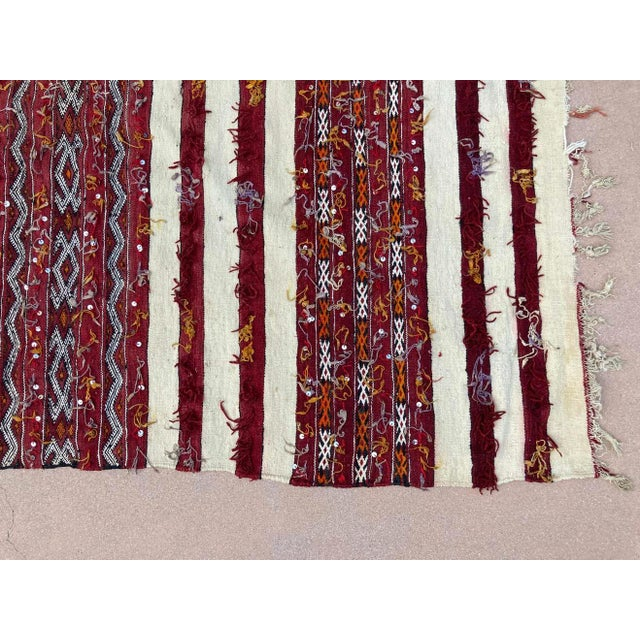 Moroccan Vintage Tribal Kilim Handira Rug, circa 1960 For Sale In Los Angeles - Image 6 of 13
