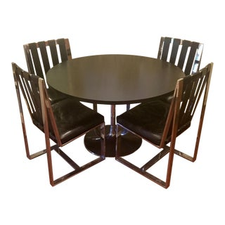 1970s Milo Baughman Strappy Dining Chairs & Table