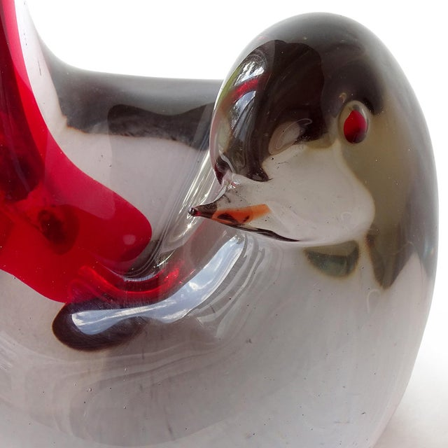 Mid 20th Century Cenedese Murano 1961 Sommerso Red Gray Italian Art Glass Bird Sculptural Vase For Sale - Image 5 of 10