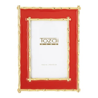 Tozai Home Bamboo Red Enamel Picture Frame For Sale