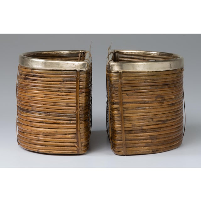 Mid-Century Modern 1970s Mid Century Handmade Pencil Reed Cane Brass Hanging Planters For Sale - Image 3 of 13