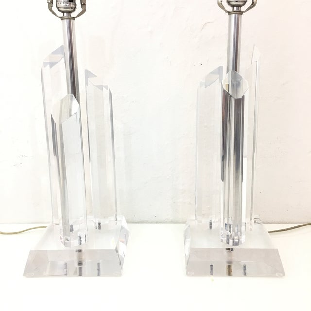Mid-Century Modern Vintage Karl Springer Style Lucite Lamps- A Pair For Sale - Image 3 of 9