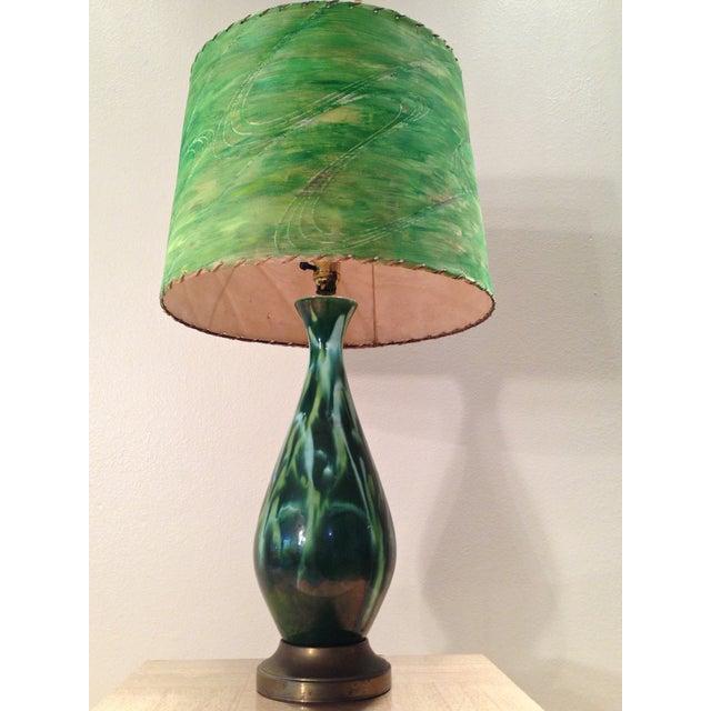 Mid-Century Green Ceramic Lamp & Handpainted Shade - Image 4 of 9