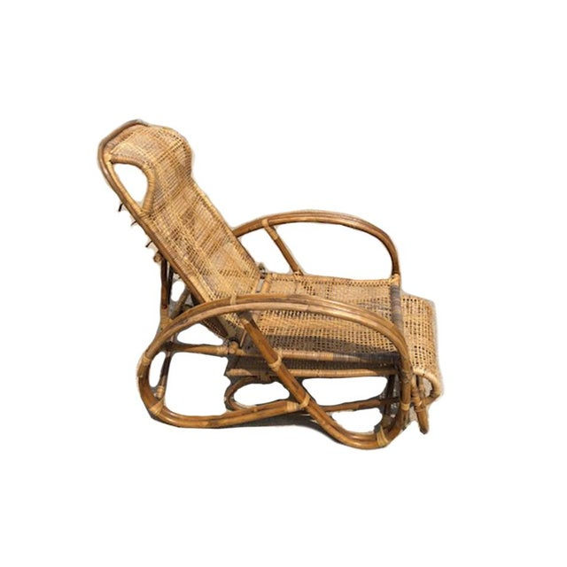 Boho Chic 1920s Vintage Rattan Bamboo Reclining Chaise Lounge For Sale - Image 3 of 5