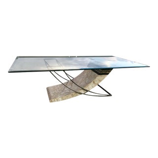 Maitland-Smith Style Tessellated Stone Glass and Iron Sculptural Coffee Table For Sale