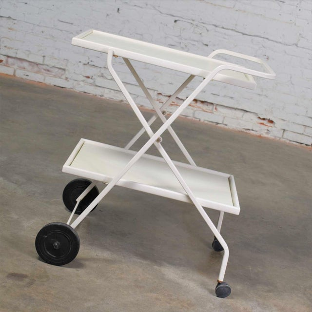 Mid-Century Modern Mid Century Modern Samsonite Tiered Patio Drink Cart of Fiberglass and Enameled Steel Tube in White For Sale - Image 3 of 13