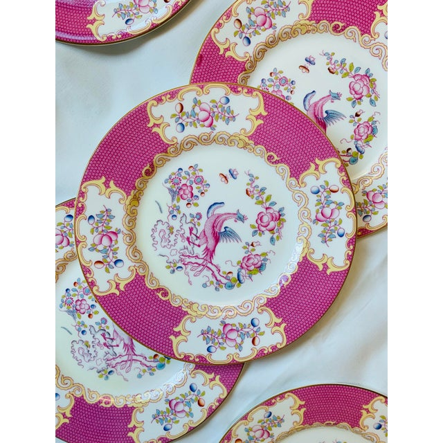 Asian Early 20th Century English Minton Pink Cockatrice Plates - Set of 7 For Sale - Image 3 of 8