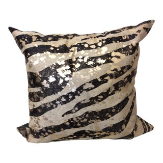 Huge Zebra Pattern Cowhide Pillow With Acid Wash & Gold Leaf For Sale
