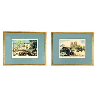 Mid-Century French Parisian Tourism Signed and Framed Illustrations - a Pair For Sale