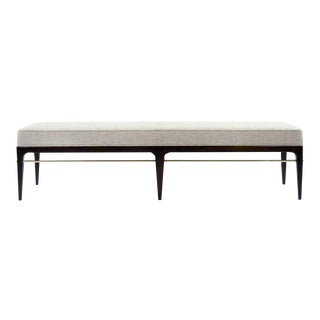 Stamford Modern's Speckled Wool and Walnut Linear Bench For Sale